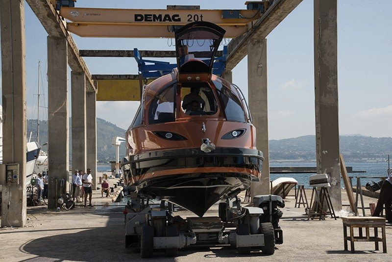 Jet Capsule before docking in the water on land