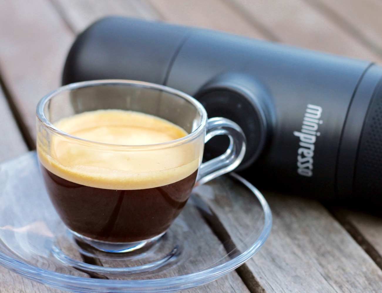 MiniPresso Handheld Espresso Maker by Wacaco Company requires no batteries or charging