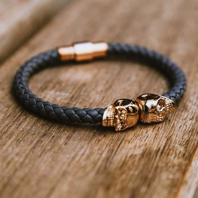Twin Skull Leather Bracelet By North