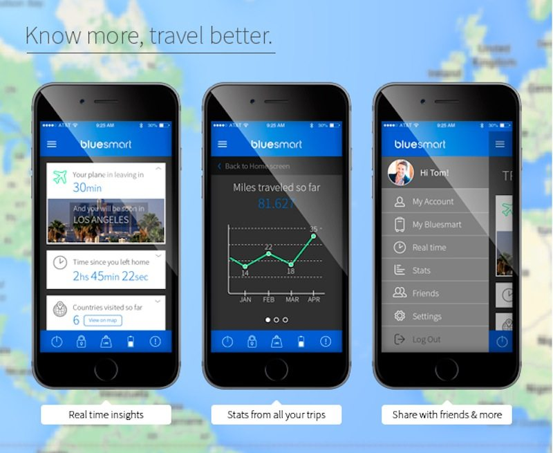 Bluesmart luggage official app with travel data