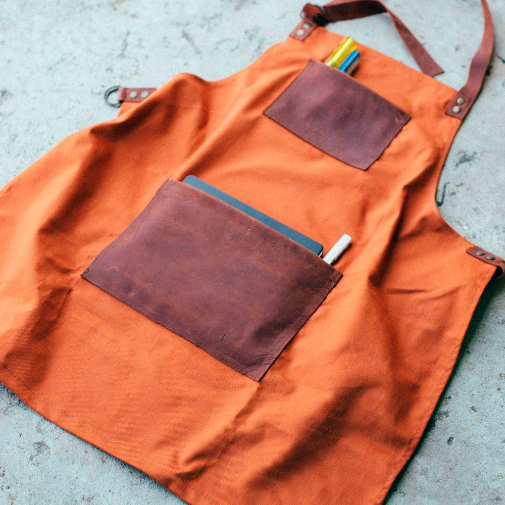 Raw Canvas & Leather Apron by JM & Sons