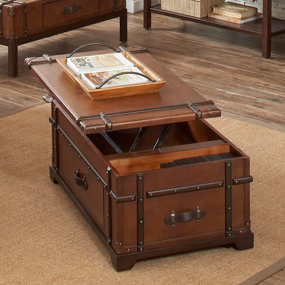 Steamer trunk coffee lift top table gadget flow Trunk coffee tables
