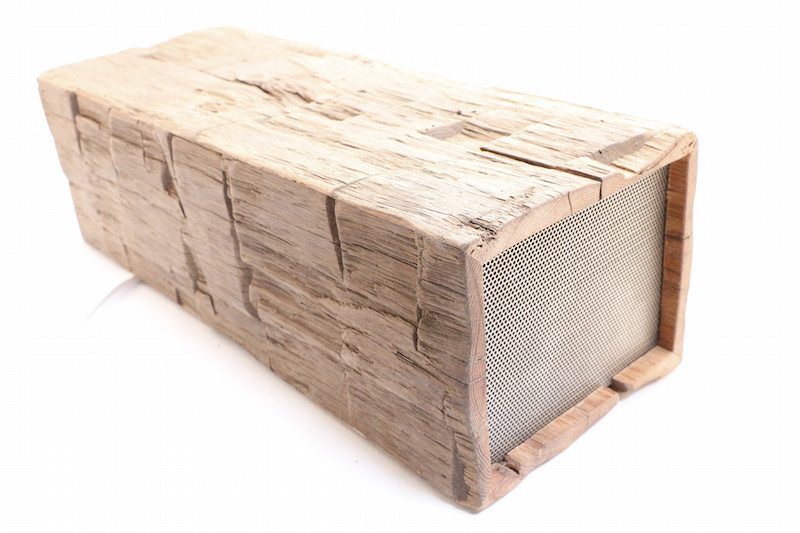 The BeamBox takes a rough old piece of reclaimed wood and turns it into audio beauty.