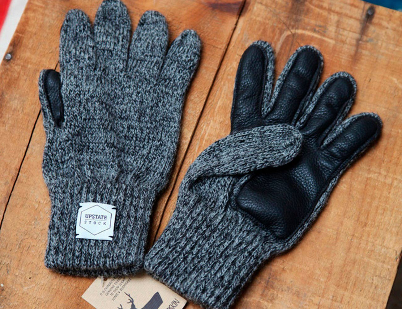 Wool & Deerskin Gloves by Upstate Stock
