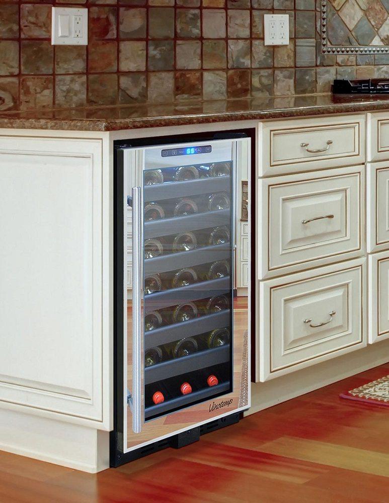 Vinotemp 33 Bottle Touch Screen Mirrored Wine Cooler