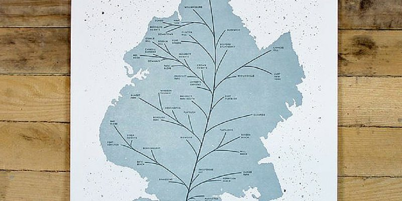 Brooklyn Leaf Map Poster by HOLSTEE