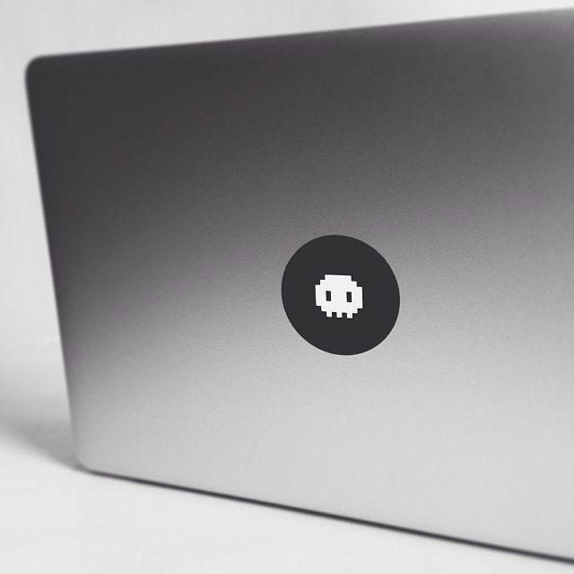 1 Bit Skull Macbook Sticker by Stickerlicious