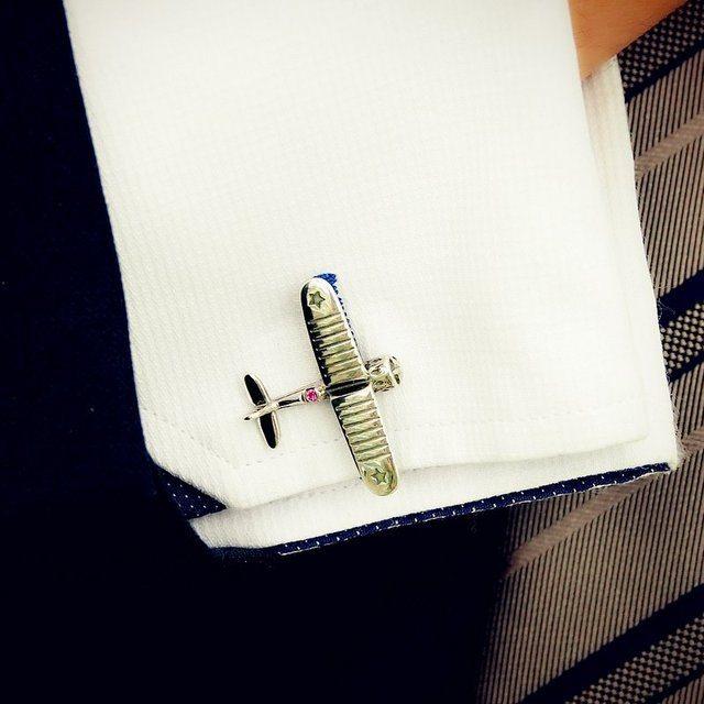 Aeroplane Cufflinks by Dmitry Gourji
