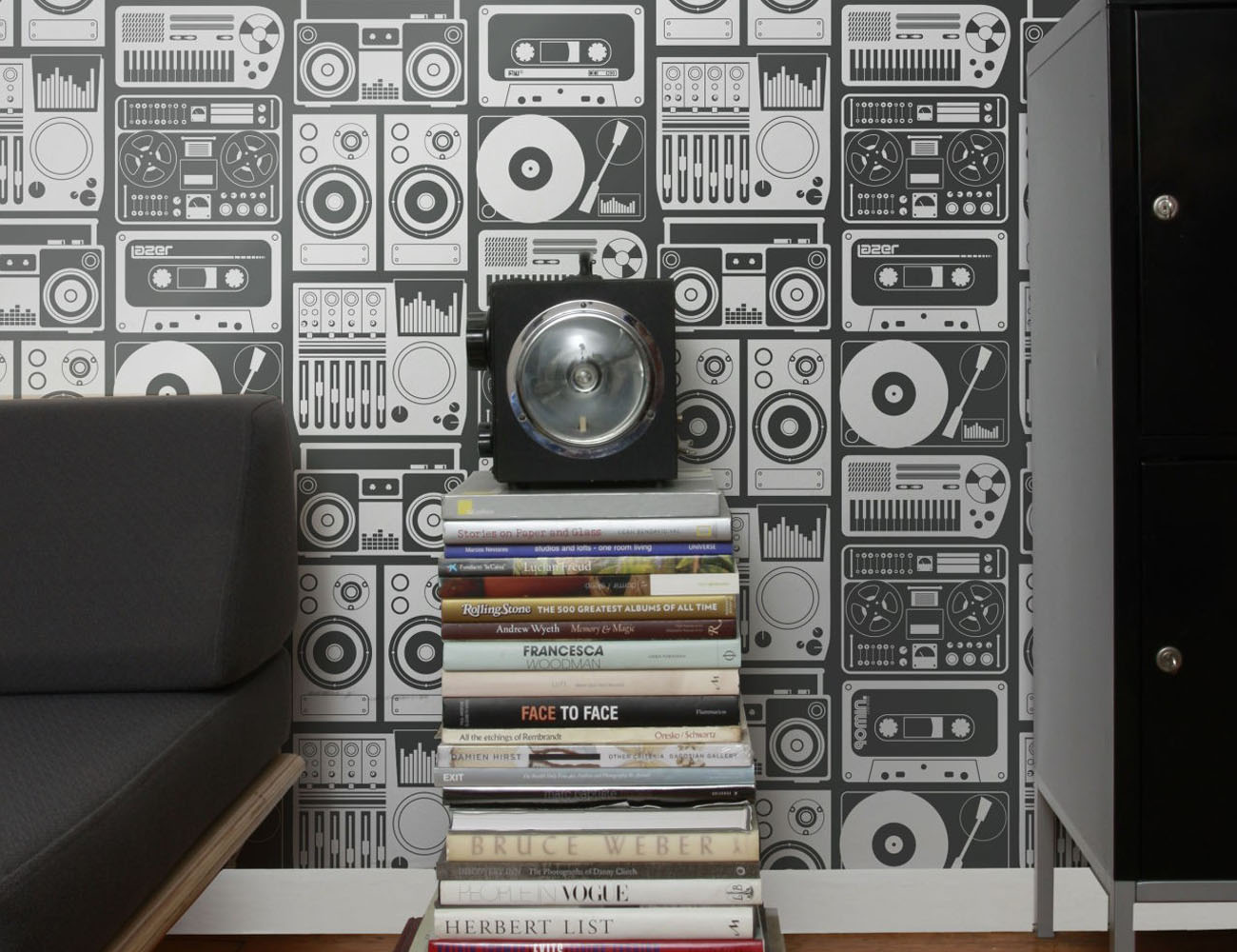 analog nights wallpaper with boombox prints gadget flow