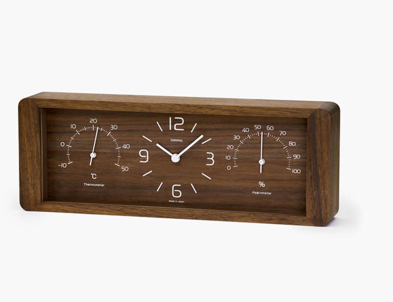 Lemnos Yokan Thermometer & Hygrometer Table Clock