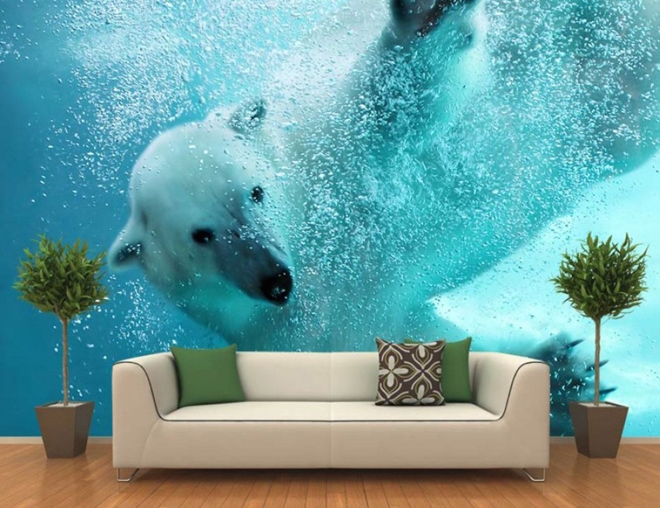 Polar bear underwater attack wall mural review for Create wall mural from photo