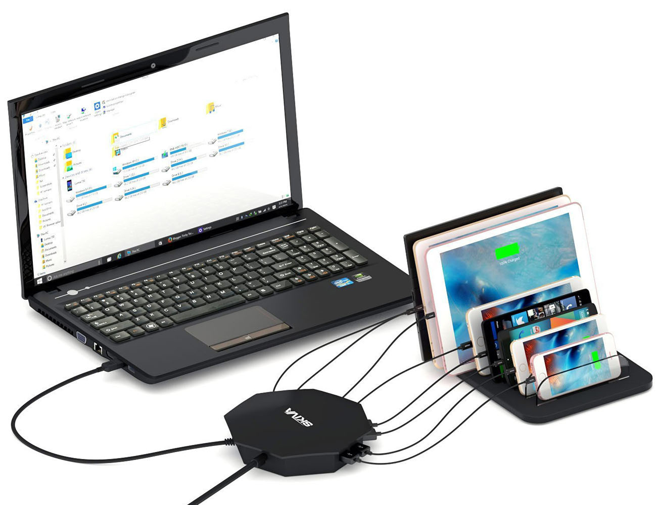 Ultimate 8 Port USB 3.0 Hub with Rapid Charging for iPhone, iPad, Android etc.