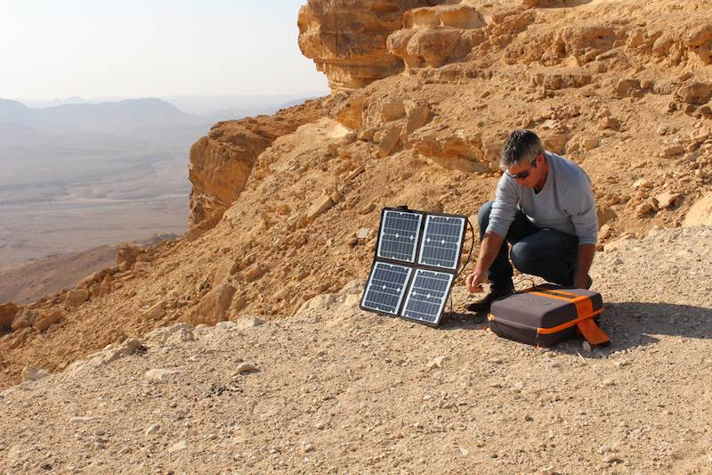 KaliPAK on the side of a cliff, assembled for solar power