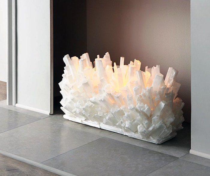 Selenite Fireplace Sculpture loading=