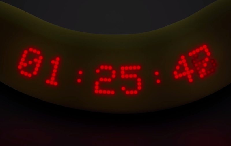 Dole edible banana with lap time display