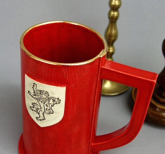 House Lannister Ceramic Stein in Red with Gold Rim