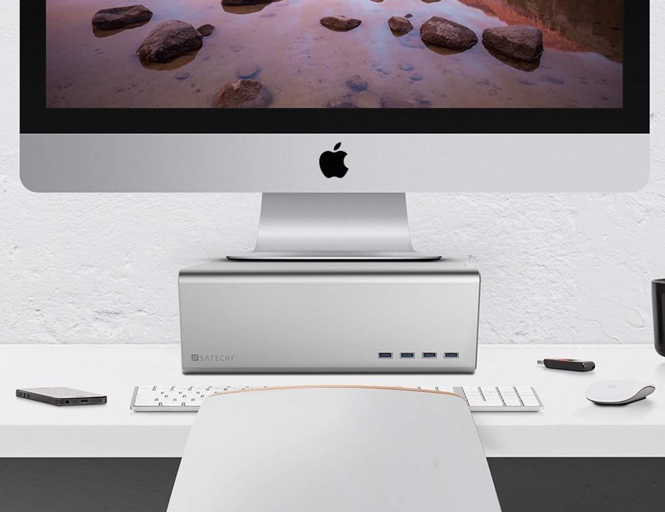 Premium Aluminum Monitor Stand and Four Port USB 3.0 Hub by Satechi