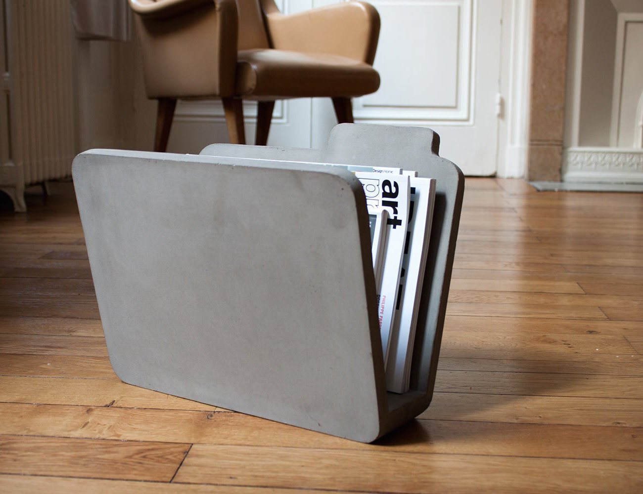 Concrete Magazine Rack by Bertrand Jayr