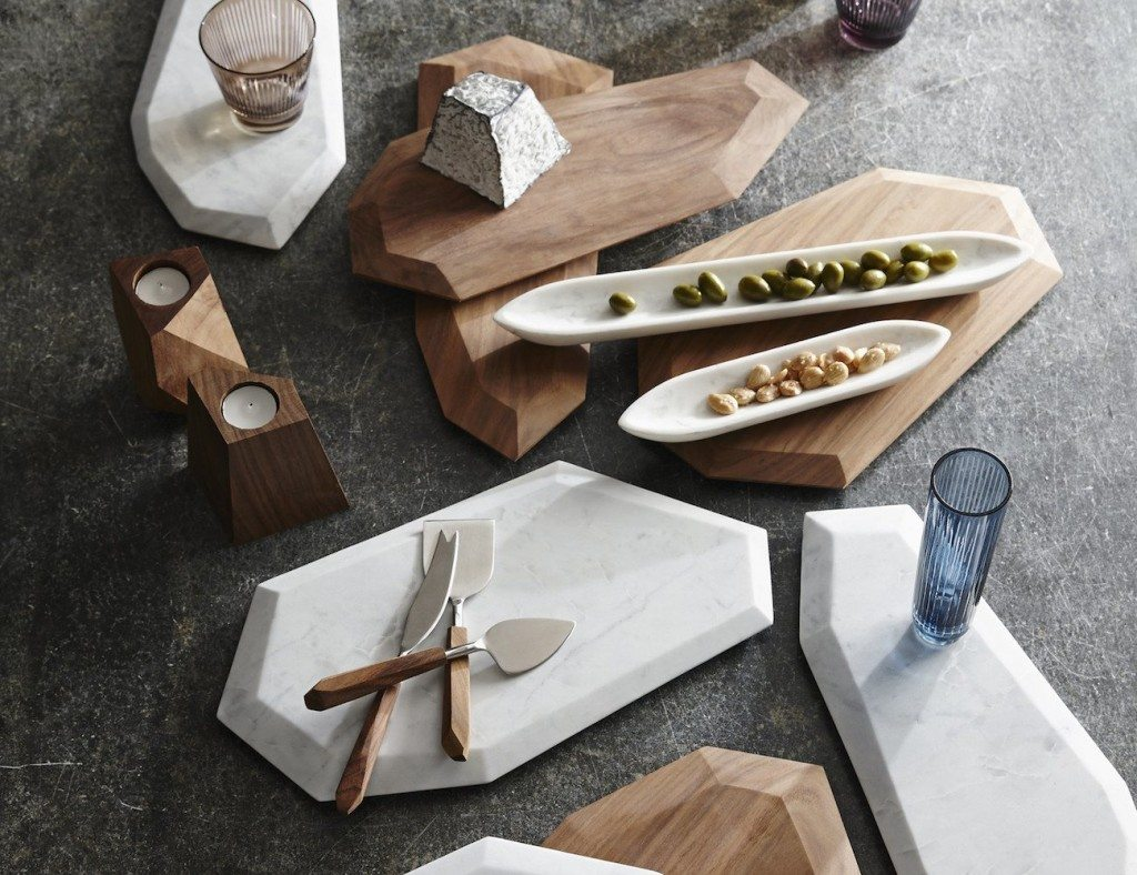 Faceted+Marble+%2B+Rosewood+Serving+Pieces