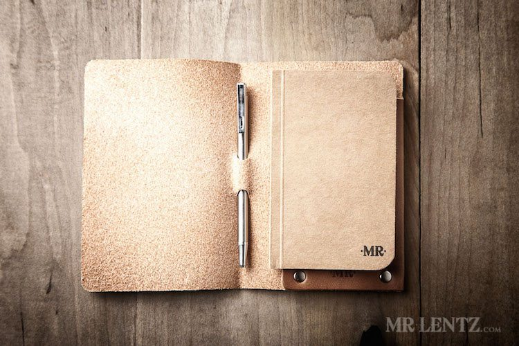Mini Notebook Cover – Leather Cover and Pen by Mr. Lentz