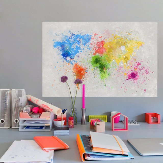 Paint Splatter World Map -