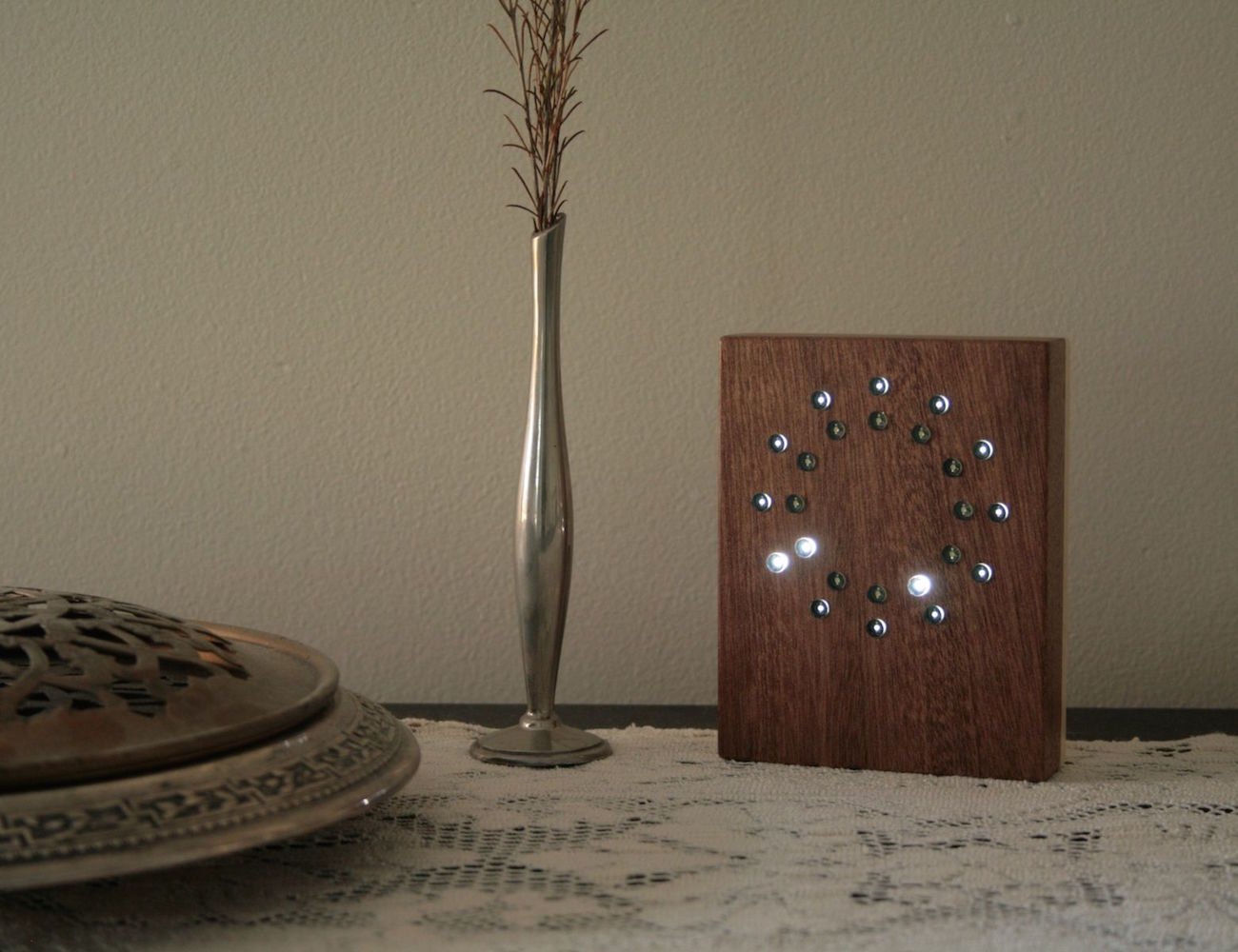 Walnut Analog LED Clock