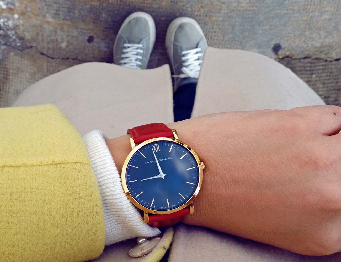 Läder Red Leather Watch by Larsson & Jennings