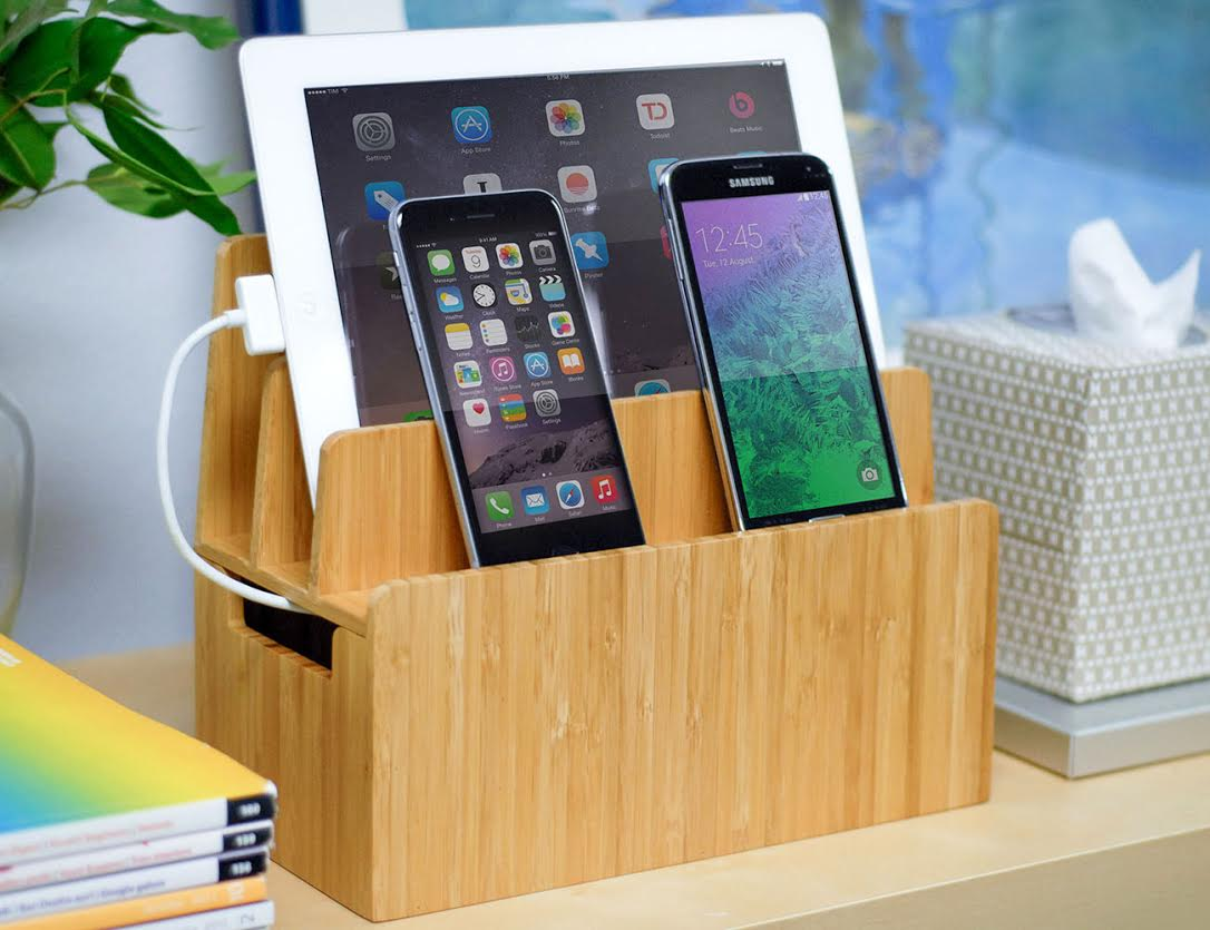 MobileVision+Bamboo+Charging+Stand+And+Organizer+Dock
