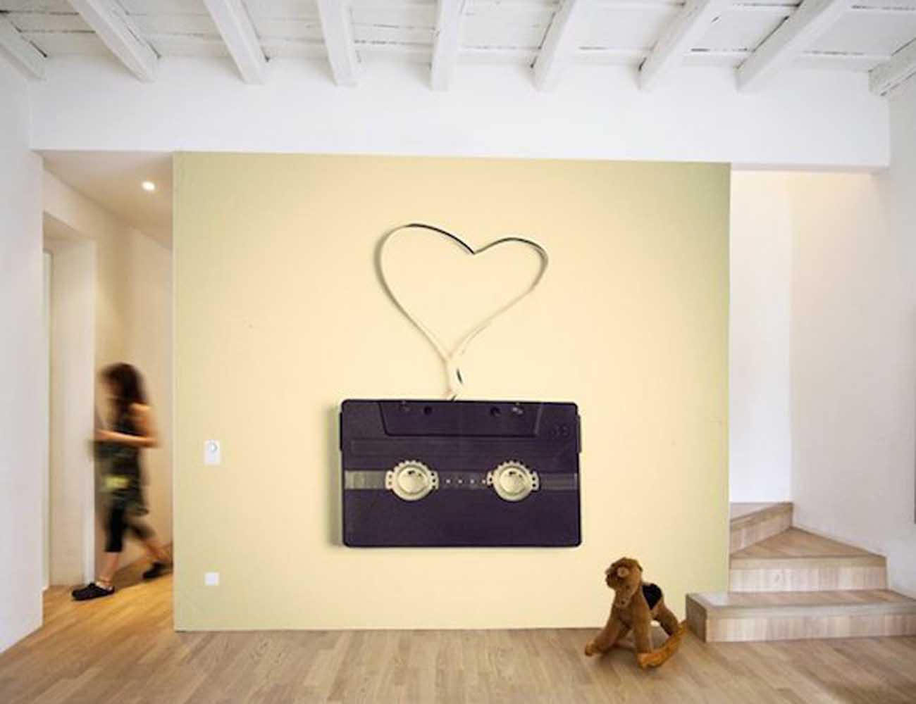 Retro Heart-Shaped Tape Wall Mural