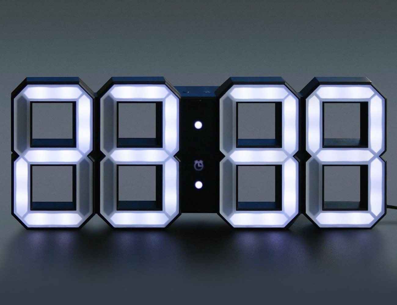 White Amp White Clock 3d Digital Led Black Edition Clock