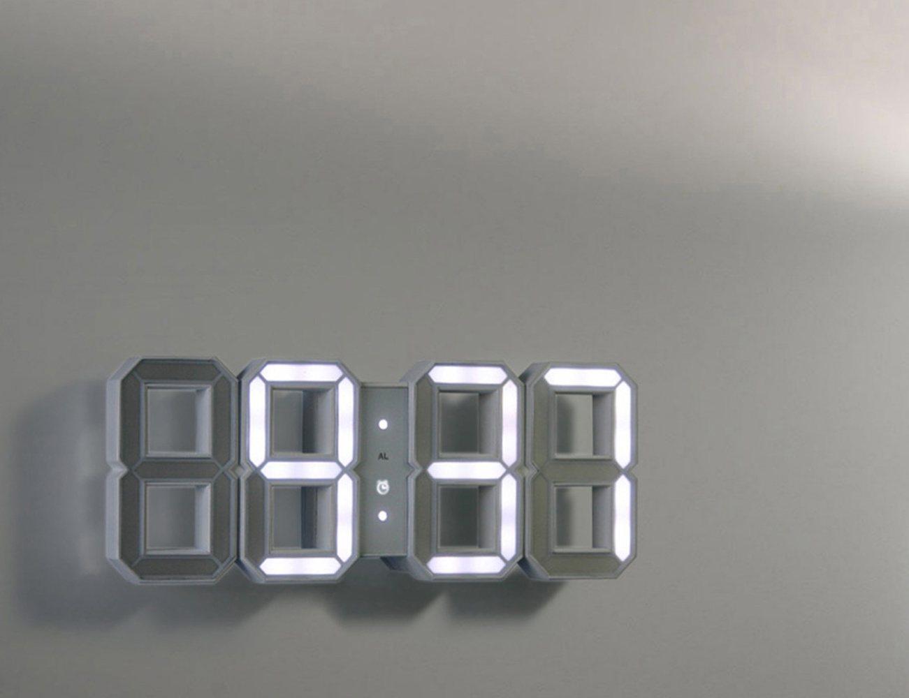 White Amp White Clock 3d Digital Led Black Edition Clock