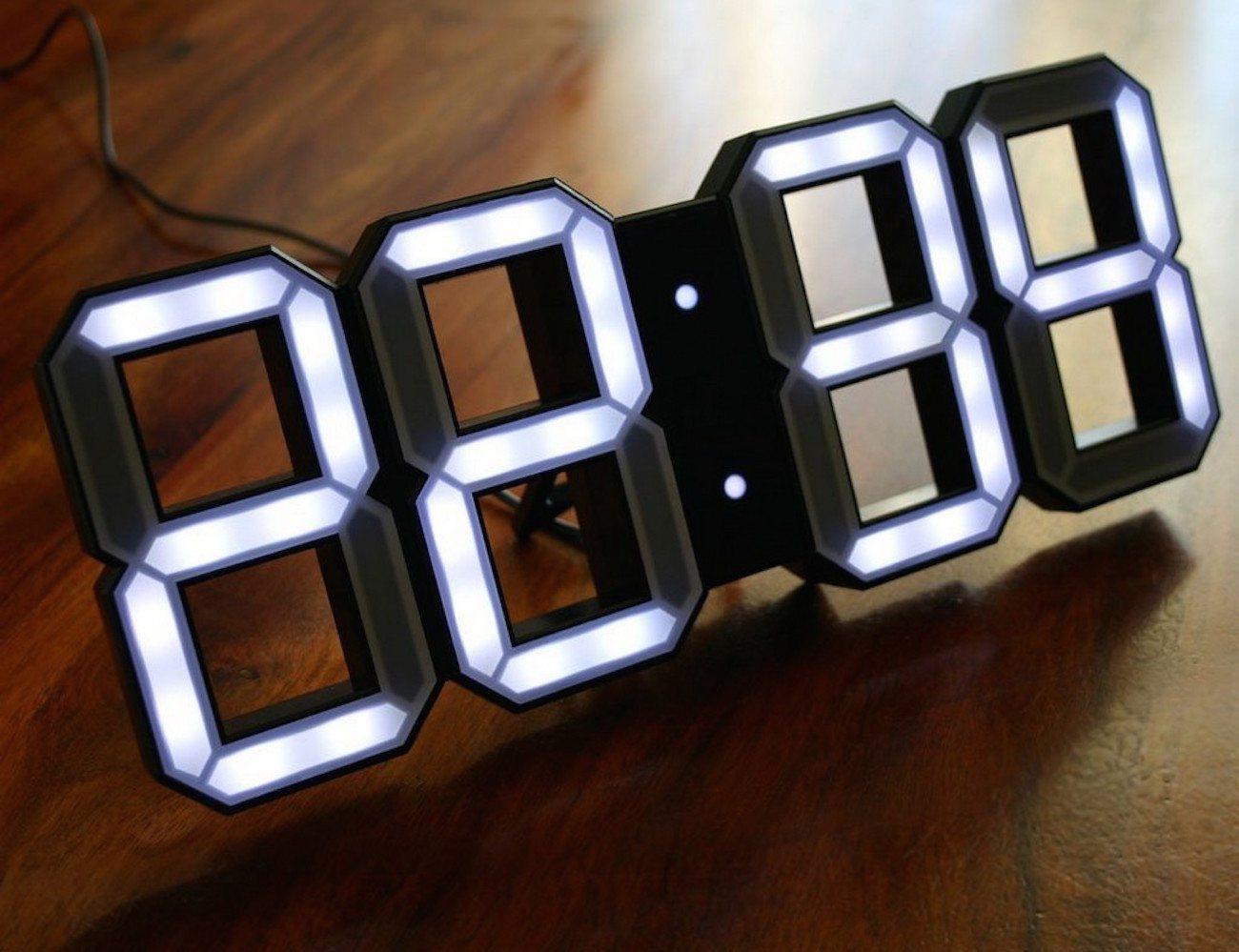 White & White Clock – 3D Digital LED Black Edition Clock