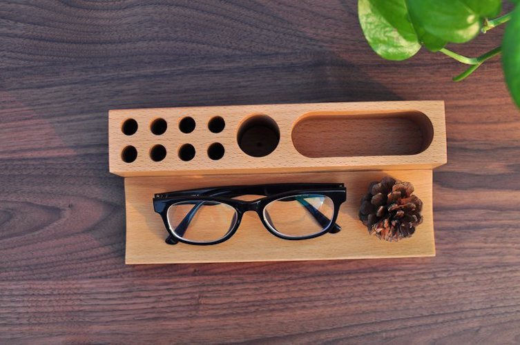 Wood Phone Holder & Pen Container