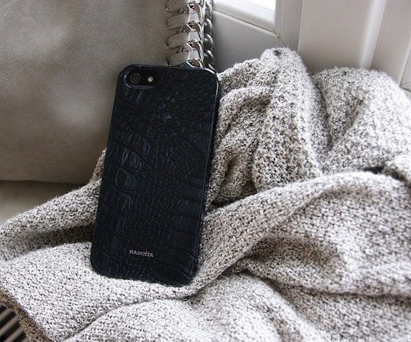 Black+Crocodile+Leather+Print+Phone+Case+By+Madotta