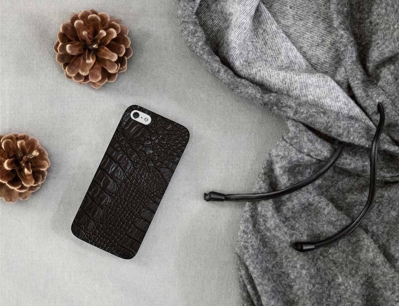 Black Crocodile Leather Print Phone Case by Madotta