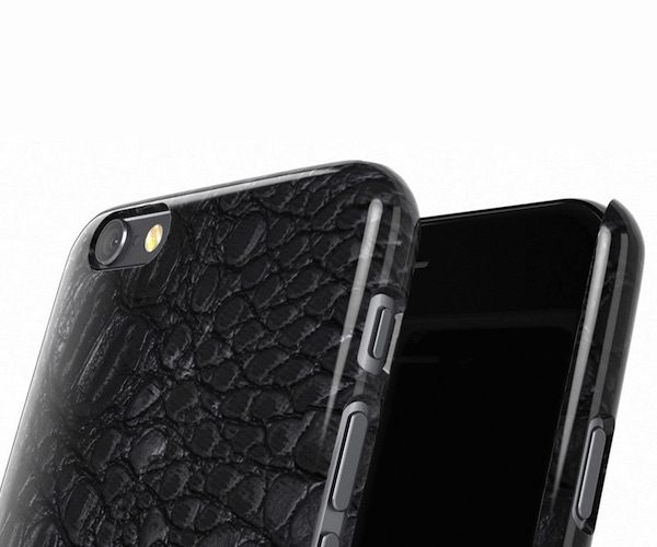 Black Crocodile Leather Print Phone Case by Madotta