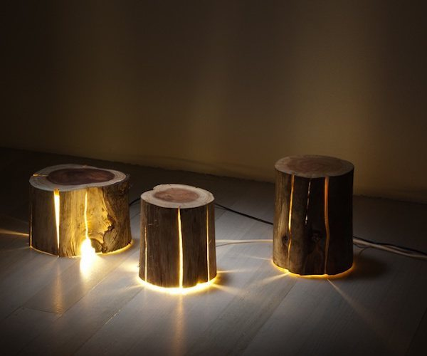 Cracked Log Lamp – Made From Salvaged Logs