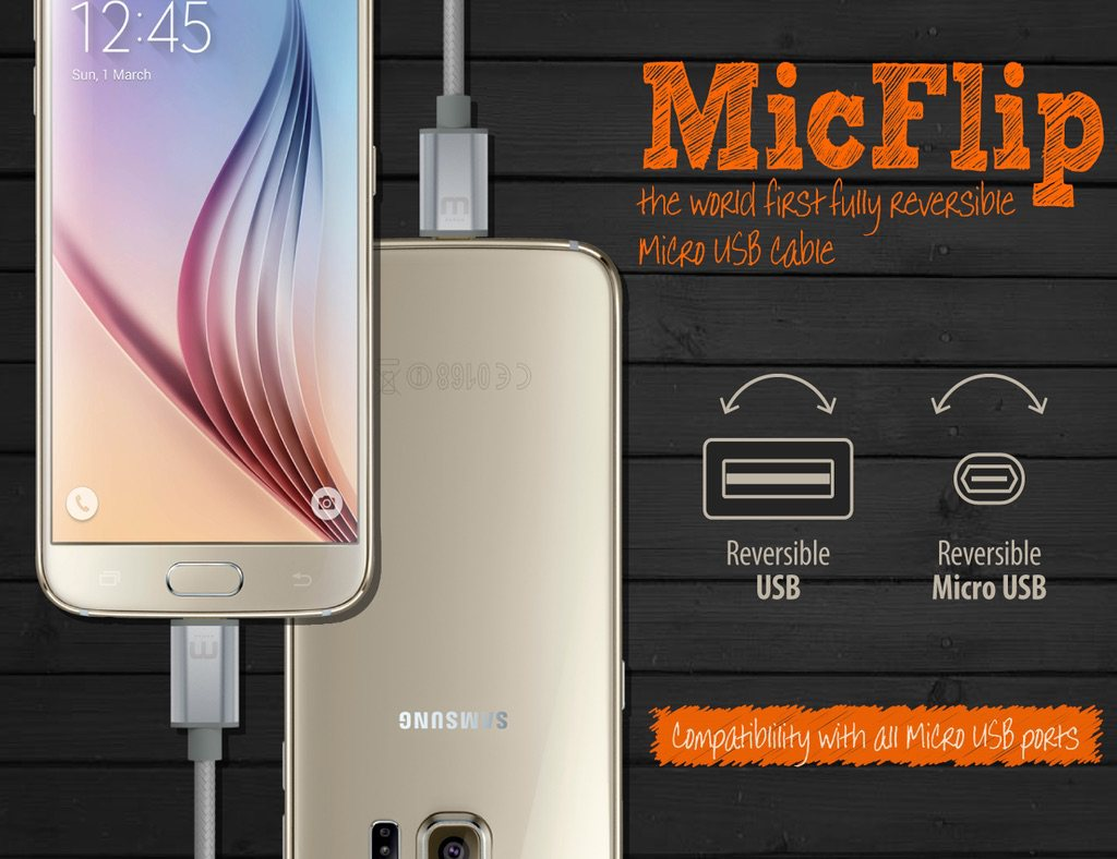 MicFlip – World's First Fully Reversible Micro USB Cable loading=