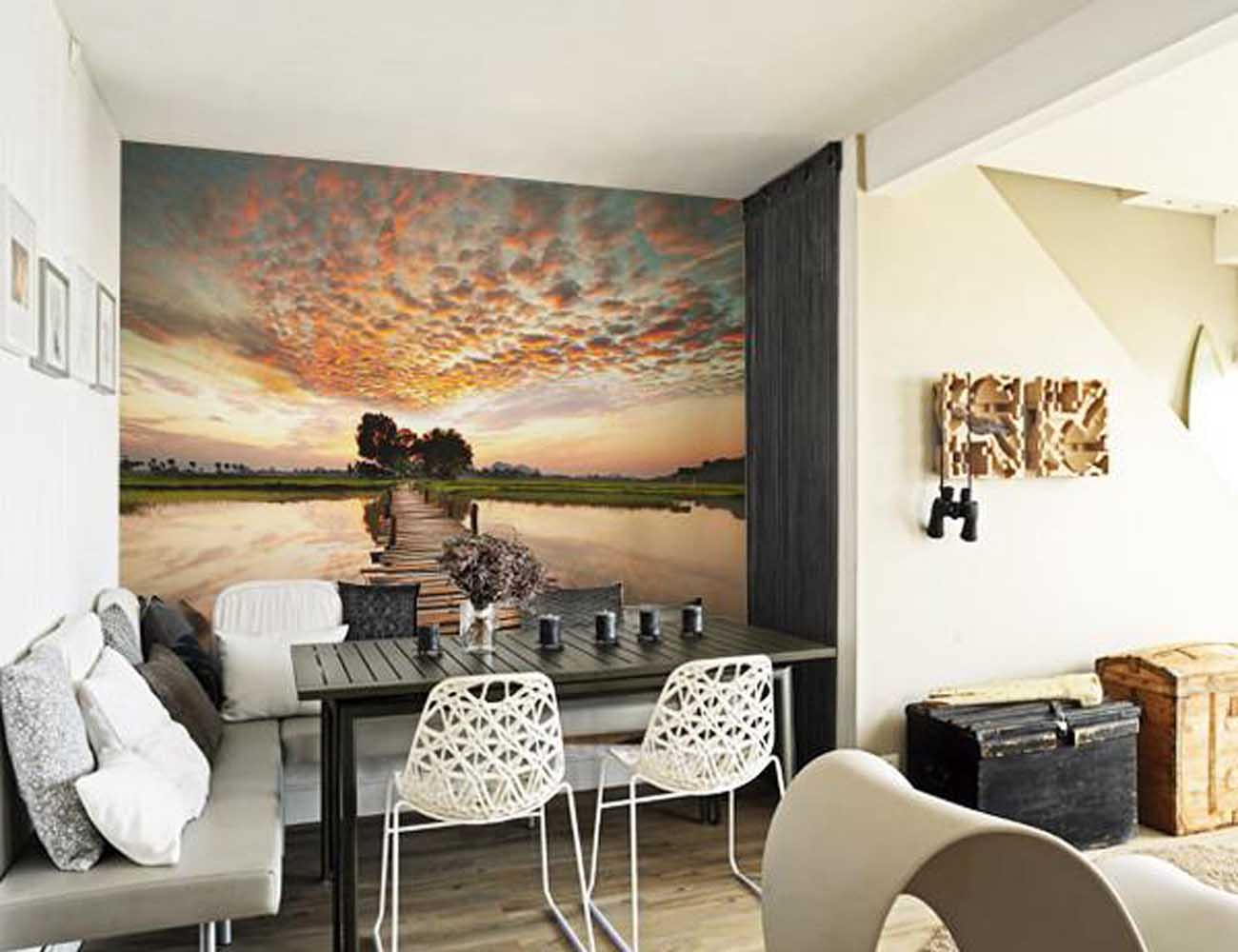 Sunset on the River Tropical Wall Mural