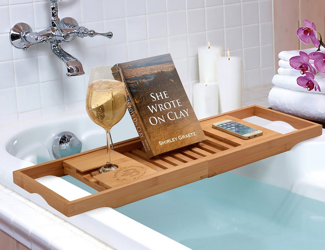 Bamboo bathtub caddy from bamb si by belmint gadget flow for Bath shower accessories