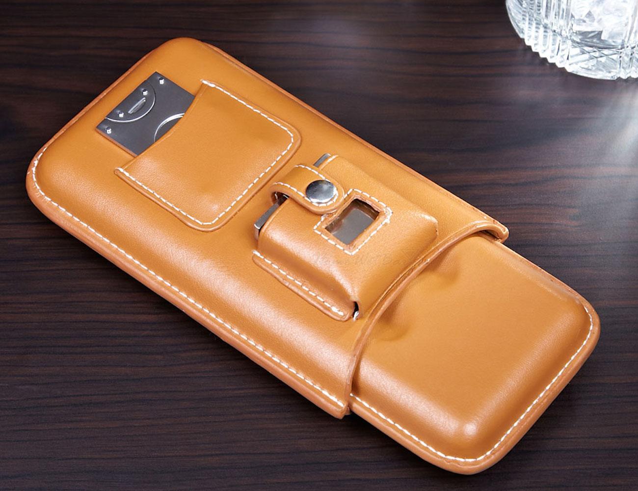 Genoa Leather Travel Cigar Case Gift Set (Latte)