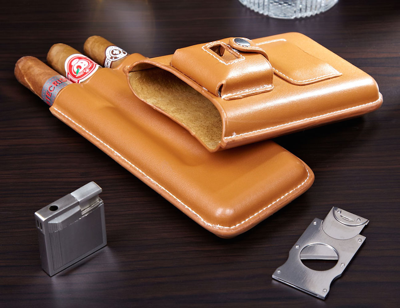 Genoa Leather Travel Cigar Case Gift Set (Latte)