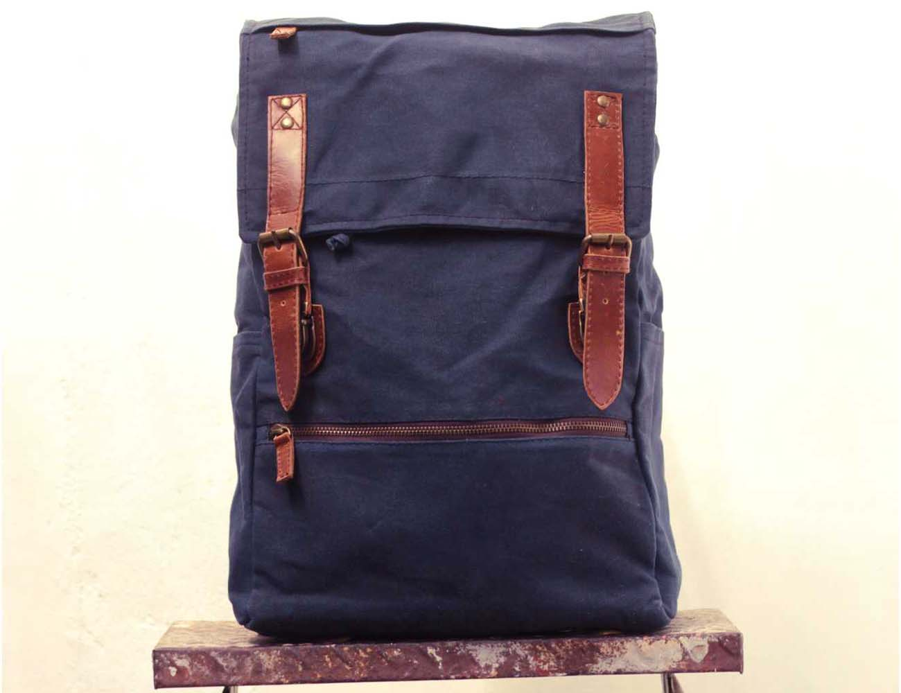 Handmade Waxed Canvas Knapsack by Gouache