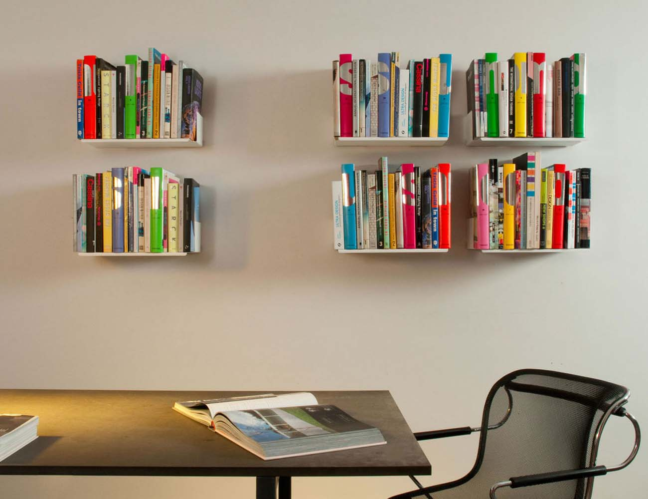 judd wall shelves by teebooks keep your books suspended in air. Black Bedroom Furniture Sets. Home Design Ideas