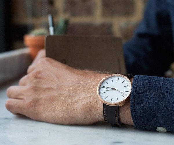 M40 Rose Gold Date Watch by Uniform Wares
