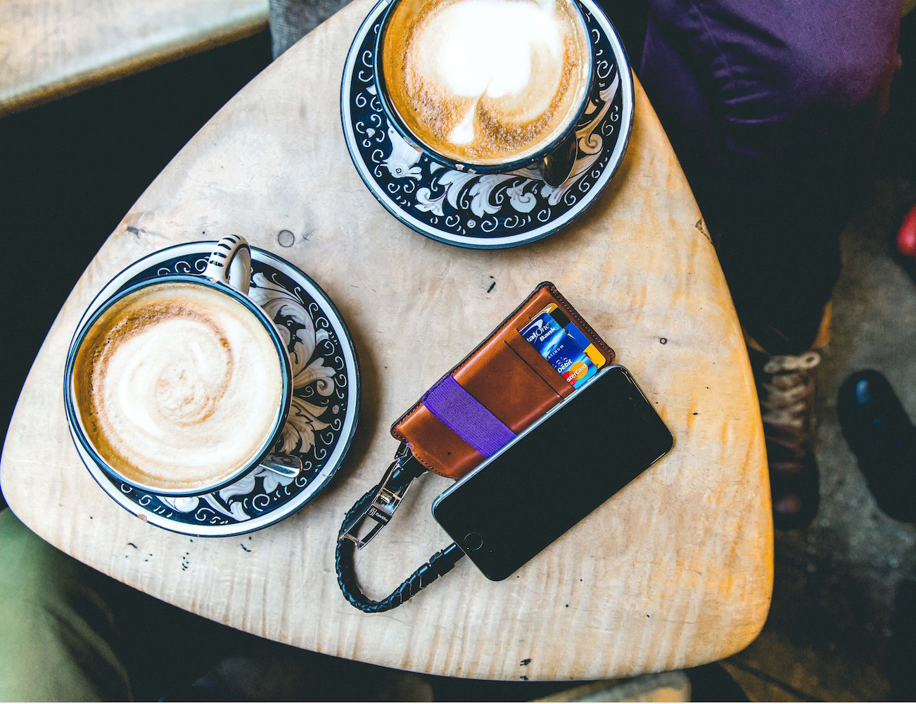Tobacco/Violet Charging Wallet by LUCE – Power Bank With 2 Full iPhone Charge Capacity