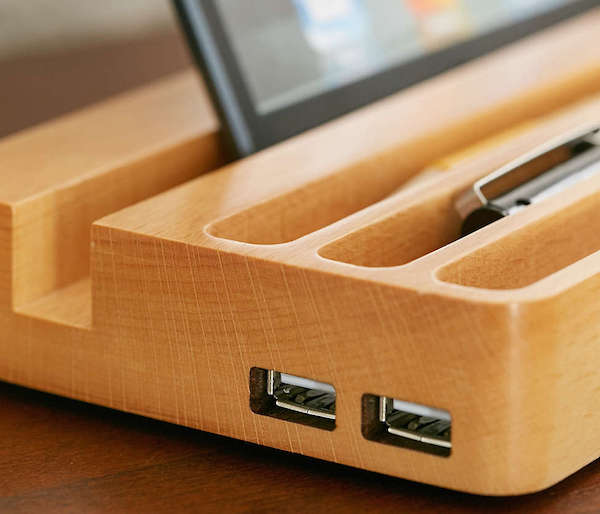 Wood Charging Station With Two Usb Ports Gadget Flow