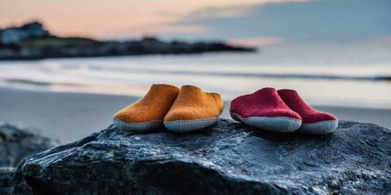 Glerups Charcoal Felt Slippers