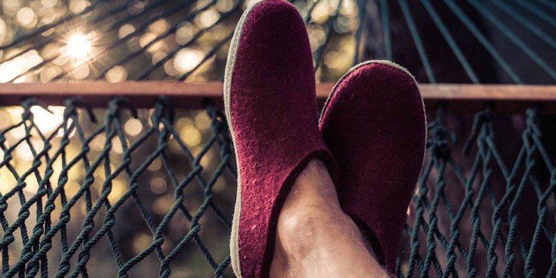 Glerups Charcoal Felt Slippers