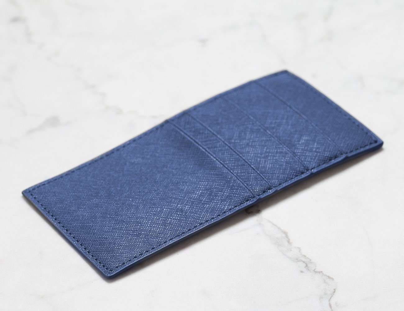 1927 Navy Leather Breast Pocket Wallet by Men In Cities
